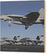 An Fa-18e Super Hornet Comes In For An Wood Print