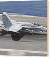 An Fa-18e Super Hornet Lands Aboard Uss Wood Print