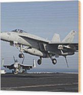 An Fa-18e Super Hornet Prepares Wood Print