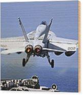 An Fa-18e Super Hornet Takes Wood Print