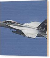 An Fa-18f Super Hornet In Flight Wood Print