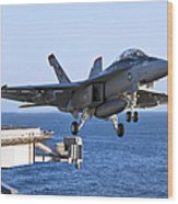 An Fa-18f Super Hornet Takes Wood Print