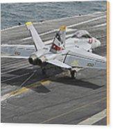 An Fa-18f Super Hornet Traps An Wood Print
