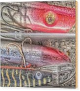 An Hdr Of Fishing Lures Wood Print
