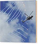 An Hh-60h Sea Hawk Helicopter Releases Wood Print