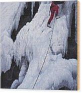 An Ice Climber On Habeggers Falls Wood Print
