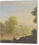 An Imaginary Coast Scene - With The Temple Of Venus At Baiae Wood Print