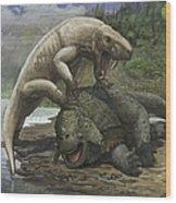 An Inostrancevia Attacks A Scutosaurus Wood Print