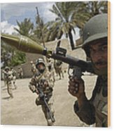 An Iraqi Army Soldier Provides Security Wood Print by Stocktrek Images