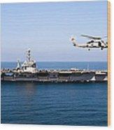 An Mh-60r Sea Hawk Flies Wood Print