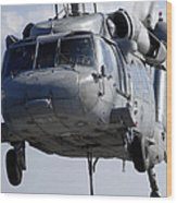 An Mh-60s Seahawk Delivers A Pallet Wood Print