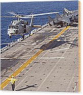 An Mh-60s Seahawk Helicopter Prepares Wood Print