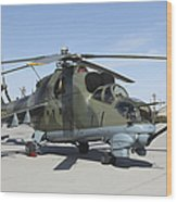 An Mi-24 Hind Helicopter Wood Print