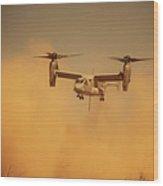 An Mv-22 Osprey Aircraft Blows Dust Wood Print