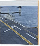 An Mv-22 Osprey Lands Aboard Wood Print