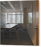 An Office Interior. Door Open To Empty Wood Print by Marlene Ford
