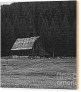 An Old Barn In Black And White Wood Print