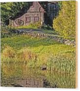 An Old Barn Reflected In The Pond Water Wood Print