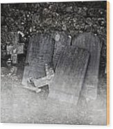 An Old Cemetery With Grave Stones And Fog Wood Print