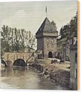 An Old Gate Stands At The Bridge Wood Print