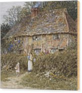 An Old Surrey Cottage Wood Print