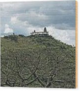 An Old Temple Building On Top Of A Hill With A Lot Of Clouds In The Sky Wood Print