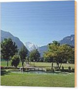 An Open Field In Interlaken With A View Of The Mountains In The Background Wood Print