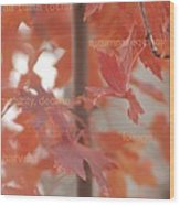 An Orange Fall Tree With Words Wood Print