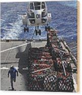 An Sa-330j Puma Helicopter Picking Wood Print