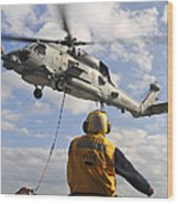 An Sh-60b Sea Hawk Helicopter Releases Wood Print