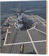 An Sh-60b Sea Hawk Lands On The Flight Wood Print