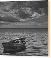 Anchored Row Boat Looking Out To Sea Wood Print
