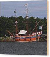 Anchored Ship Wood Print