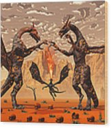 Ancient Lava Dragons Born Of Fire Wood Print