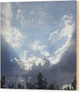 And The Clouds Opened Up Wood Print