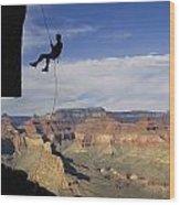 Andy Marquardt Rappels Down A Cliff Wood Print
