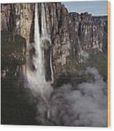 Angel Falls, With Plane For Scale Wood Print
