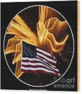 Angel Fireworks And American Flag Wood Print by Rose Santuci-Sofranko