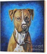 American Staffordshire Terrier Dog Painting Wood Print