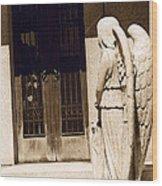 Angel Outside Cemetery Mausoleum Door Wood Print