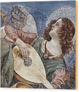 Angel With A Lute Wood Print