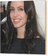 Angelina Jolie At Arrivals For Dvd Wood Print