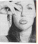 Angelina Jolie Pencil Art Wood Print