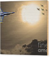 Angels In The Sky . Partial Sepia Wood Print