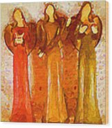 Angels Rejoicing Together Wood Print