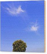 Angels Watching Over Tree Wood Print