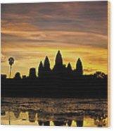 Angkor Wat At Sunrise II Wood Print