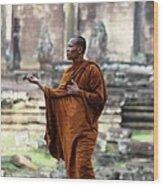 Angkor Wat Monk Wood Print