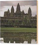Angkor Wat Temple Reflected Wood Print