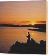 Angler At Sunset, Roaring Water Bay, Co Wood Print by The Irish Image Collection